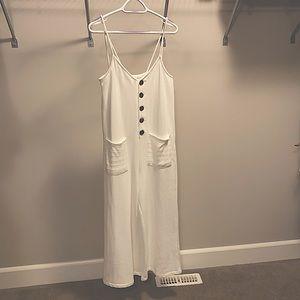 White wide leg culottes pantsuit